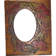 SALE Early 20th Century Pyrography Photograph Frame, Painted Poppies