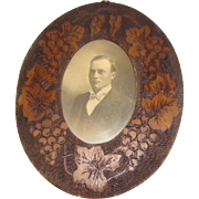 SALE Vintage Wood-Burned Oval Photograph Frame Grapes and Leaves
