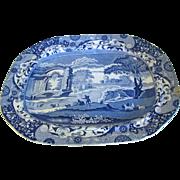 SALE Very Large Antique Spode's Italian Blue Transferware Platter