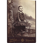 SALE Cabinet Photograph of Young Boy with a Large Hoop, Victorian Dress