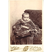 SALE Cabinet Photograph Card of Baby Dressed in Velvet