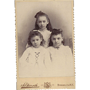 SALE Cabinet Photograph Card of 3 Young Girls (Sisters)