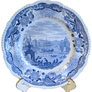 SALE Light Blue Transferware Plate ITALIAN SCENERY, Maker Unknown