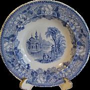 SALE Blue Transferware Soup Plate BOSPHORUS, James Jamieson & Co.