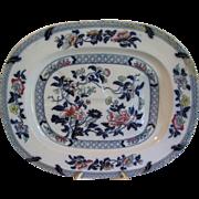 Huge Meat Platter, PEARL, Oriental Design, Enameled of Cobalt Blue