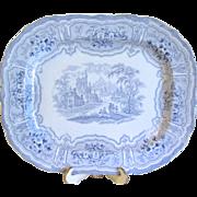SALE Lovely Large Antique Light Blue Transferware Platter, Romantic Landscape