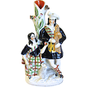 SALE Antique Staffordshire Spill Vase, Man Woman, and Sheep