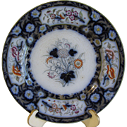 SALE Lovely Antique Flow Blue Floral Plate, BIRMAH