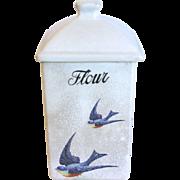 "1920""s BLUEBIRD Flour Canister, Hull Pottery"