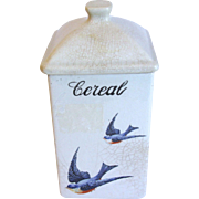 Vintage BLUEBIRD CANISTER Cereal Hull Pottery