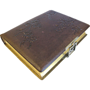 SALE Lovely Victorian Leather Photo Album, 8 Die-cut Floral Pages