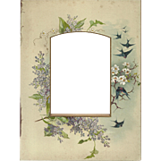 SALE Lovely Chromolithograph Page from Victorian Photo Album, Birds and Flowers