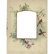 SALE Lovely Chromolithograph Page from Victorian Photo Album, Flowers and Birds