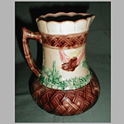Large Majolica Pitcher, Bird and Basketweave