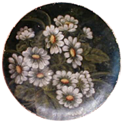 REDUCED Lovely Papier Mache Plate, Oil Painting, White & Yellow Daisies