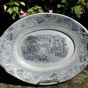 SOLD Lovely Gray Transferware Platter, Crisp Engraving, Not Marked