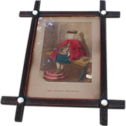 REDUCED Lovely Chromolithograph in Criss-Cross Frame, FIRST SERMON