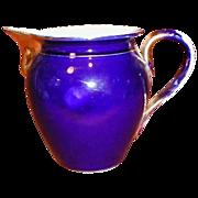 SALE Large Gold Trim Cobalt Blue Pitcher