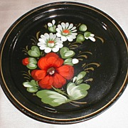 Small Lovely Tole Tray, Russian, Signed