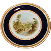 SALE Lovely Gilded Cobalt Rimmed Cake Plate w/Hand Painted Landscape