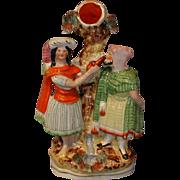 Colorful Victorian Flat-back Group Figure, Rebekah & Abraham's Servant
