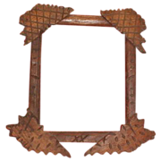 REDUCED Unusual Folk (Tramp) Art Frame, Criss-Cross