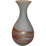 Lovely Art Glass Vase, Aqua, Applied Brass or Bronze