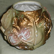 Small Milk Glass Rose Bowl Vase, Pastel Painted Goofus Glass