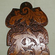 Most Unusual Pyrograph Wall Plaque, Brush Holder