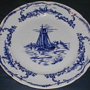 "SALE Pair of Delph Plates, 10 1/2"", Sail Boats, English, CA 1890"