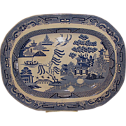 Lovely 19th Century English Blue Willow Platter, Large