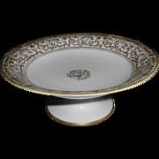 Lovely Heavily Gilded White Porcelain Compote, Noritake'
