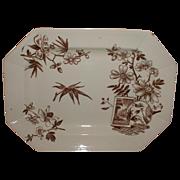 Lovely Aesthetic Brown Transferware Platter, KENILWORTH