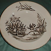 REDUCED Lovely Brown Transferware Soup Plate, AMAZON, C & H England 1886-9