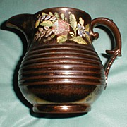 SALE Lovely Enameled Copper Lustre Pitcher