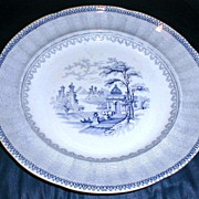 Early Blue Transferware Plate, MALTA, Rock Stone