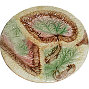 Lovely Antique Overlapping Begonia Leaf Majolica Plate