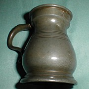 REDUCED Small 19th C. Pewter Bulbous Pewter Measure, Touch Marks