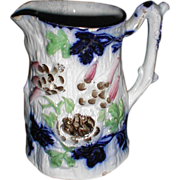 Rare and Unusual Flow Blue & Enamel Pitcher w/ Birds and Nest w/ Eggs