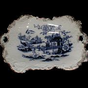 Antique Flow Blue Gilded Dish w/ Gold Sponge Decoration