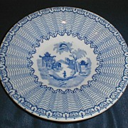 SALE Child's Blue Transferware Plate, Oriental Scene Combed Feather Edge
