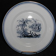 Simple but Lovely Blue Transferware Plate, Landscape with 4 Deer