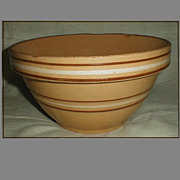 SALE Vintage Large Yelloware Mixing Bowl, Ovenware # 9, Brown Stripes