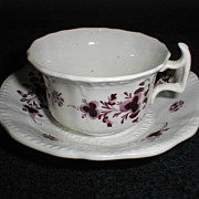 SALE Lovely Lavender Transferware Cup & Saucer, English