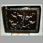 REDUCED Victorian Papier Mache Panel with Mother-of-Pearl and Abalone Shell Inlay