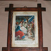 Chip Carved Tramp Art Frame, German Religious Print