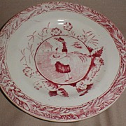 Red Aesthetic Transferware Plate, May w/Apron Allerton