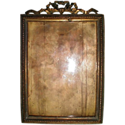 Lovely Antique Brass Photograph Frame, French Ribbon