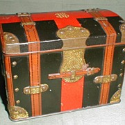SALE Antique British Biscuit Tin, Carr's, Trunk, 1903