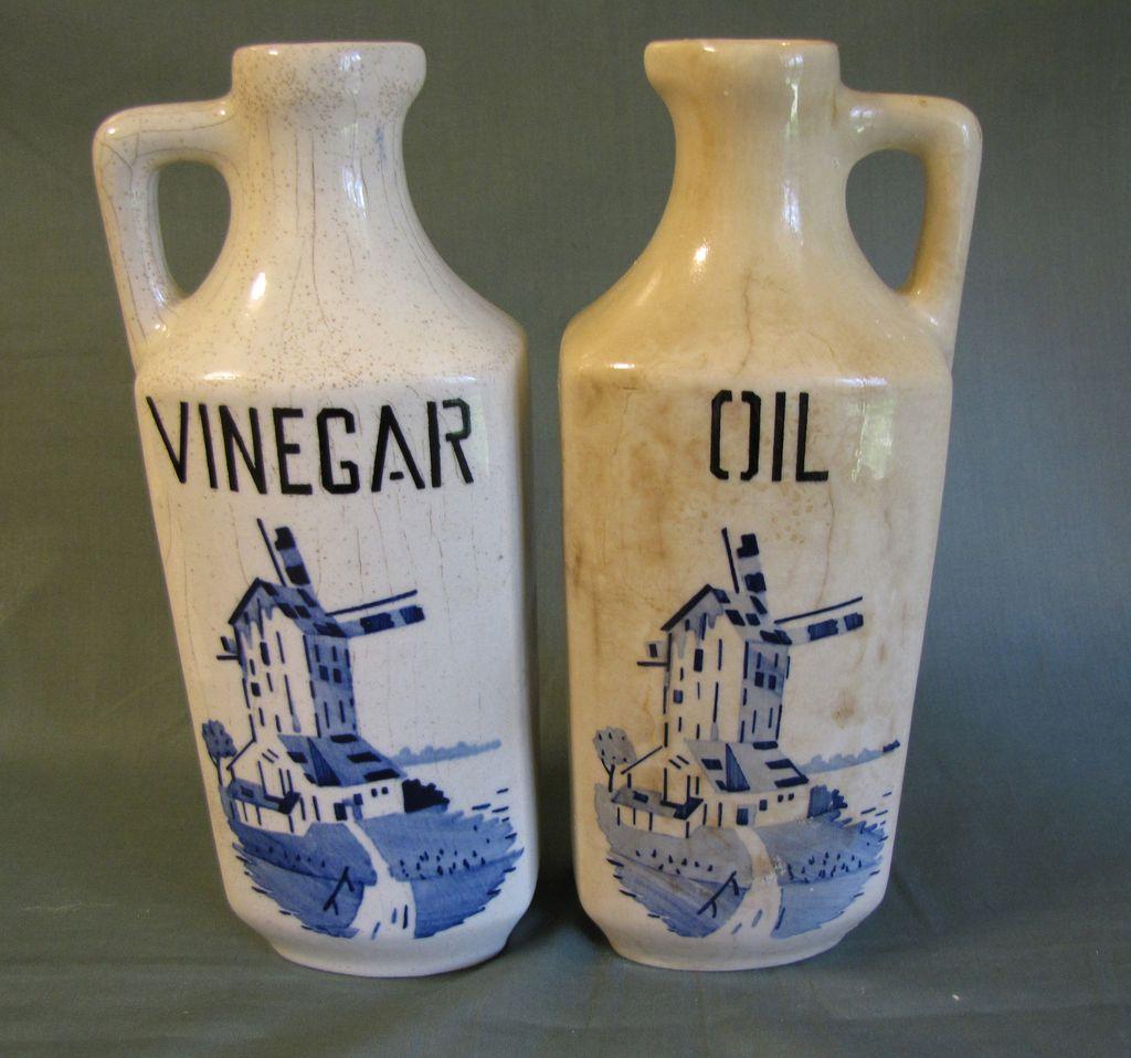 Vintage Czechoslovakia Delft Oil and Vinegar Bottles